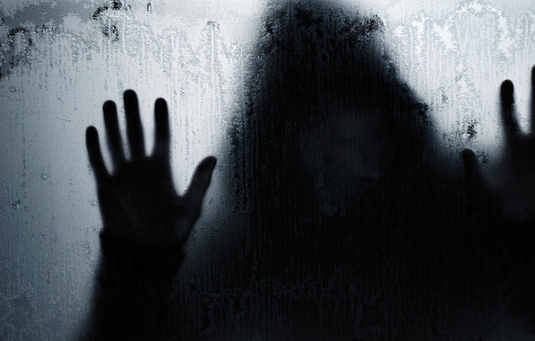 Картинка стекло, капли, человек, тень, руки, силуэт