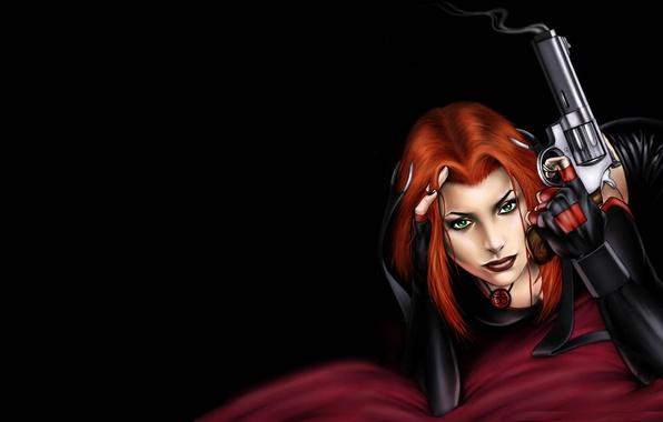 Картинка глаза, взгляд, девушка, пистолет, игра, черный фон, красные волосы, Bloodrayne, вампирша