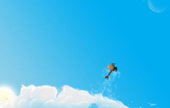 Картинка облака, рисунок, Самолет