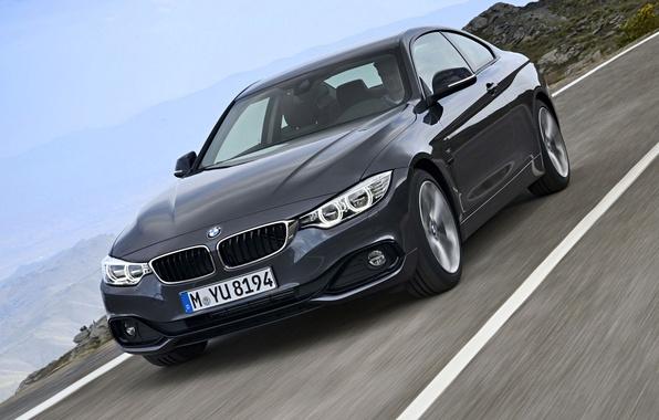Картинка дорога, пейзаж, купе, BMW, четвертая серия