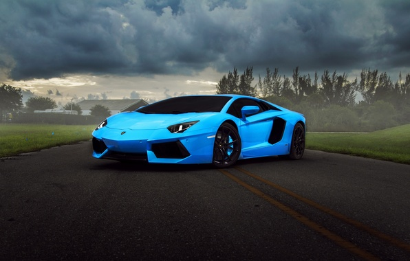 Картинка тучи, Lamborghini, supercar, blue, Aventador, hq wallpaper