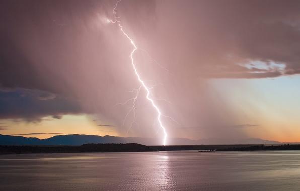 Картинка гроза, небо, закат, озеро, молния, вечер, Колорадо, USA, США, storm, sky, lightning, sunset, lake, evening, …