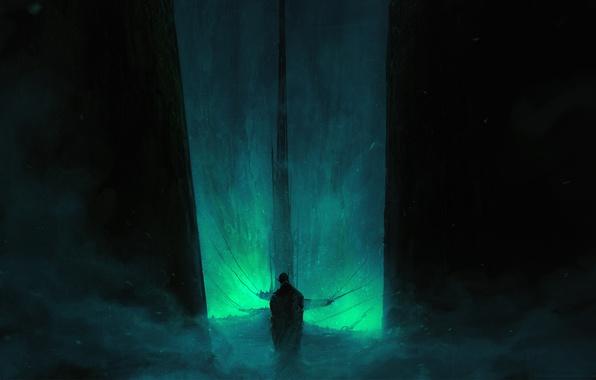 Картинка свет, темнота, фантастика, мрак, пыль, атмосфера, fantasy, цепи, art, Chris Cold, свод, evil