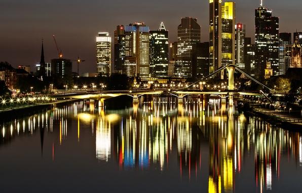 Картинка ночь, мост, огни, отражение, дома, Германия, Франкфурт-на-Майне