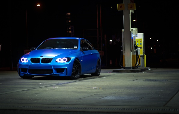 Картинка синий, bmw, бмв, заправка, кабриолет, blue, 335i, e93