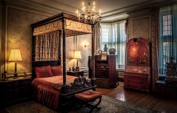 Картинка кровать, окно, шкаф, шторы, спальня, люстры, ковровое покрытие, лампы тени