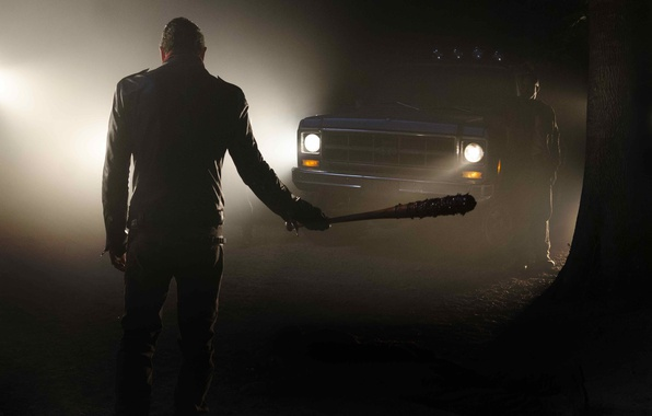 Картинка wallpaper, blood, zombies, forest, night, tree, survivor, truck, evil, Jeffrey Dean Morgan, darkness, The Walking …
