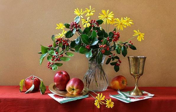 Фото натюрморты Красивые цветы и фрукты  Newpixru