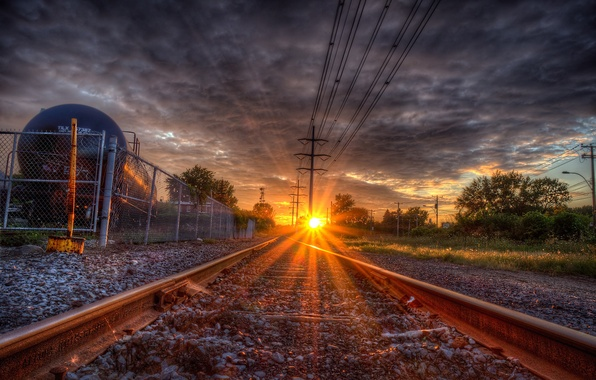 Картинка путь, рельсы, шпалы, солнца луч