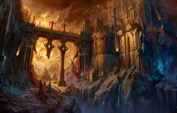 Картинка мост, замок, огонь, драконы, армия, битва, крепость