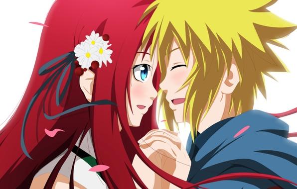Картинка девушка, аниме, лепестки, арт, наруто, парень, naruto, namikaze minato, uzumaki kushina, piodart