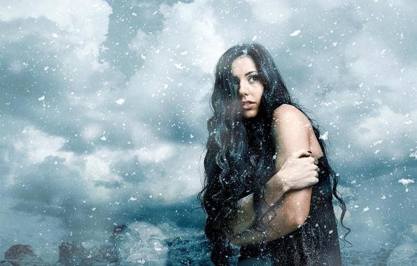 Картинка зима, девушка, снег, снежинки, ветер, холодно