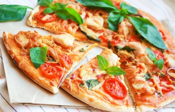 Картинка еда, курица, сыр, лук, мясо, овощи, пицца, помидоры