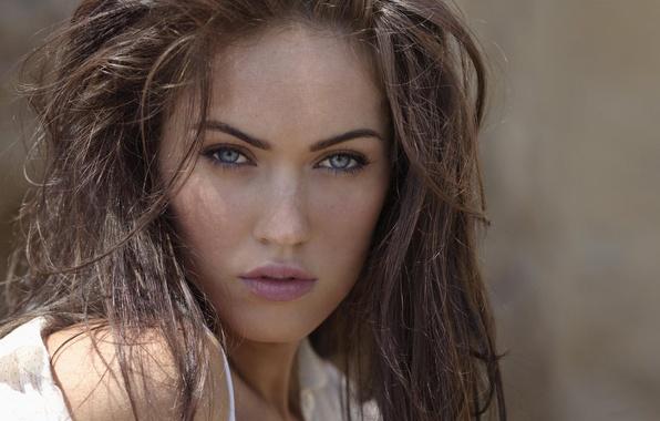Картинка лицо, Меган Фокс, Megan Fox, веснушки, голубые глаза