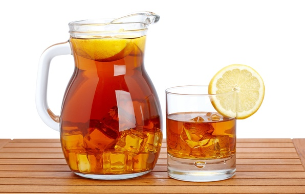Картинка лед, стакан, лимон, чай, напиток, кувшин