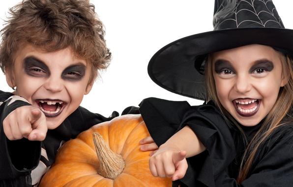 Картинка дети, праздник, шляпа, тыква, хэллоуин