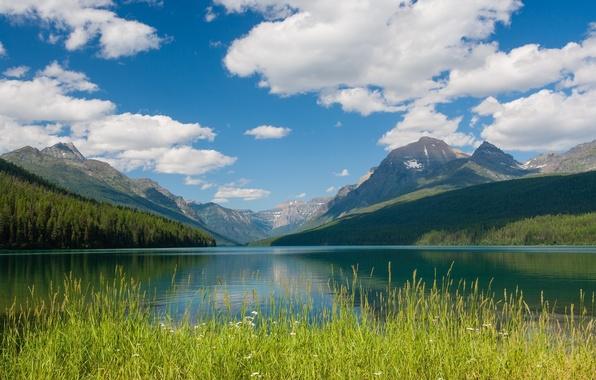 Картинка облака, горы, озеро, Монтана, Glacier National Park, Montana, Национальный парк Глейшер, Bowman Lake