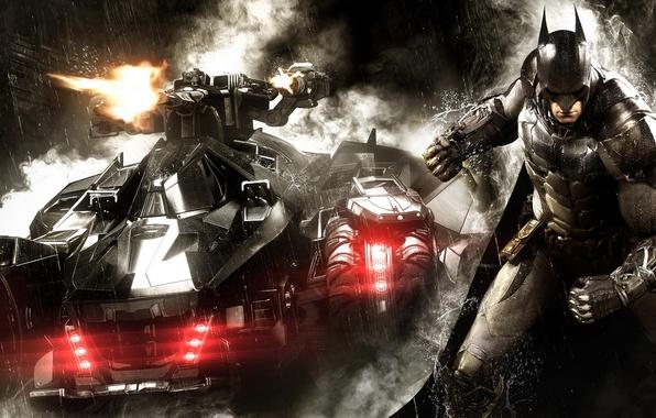 Картинка дождь, дым, пушки, броня, боец, плащ, экипировка, защитник, Брюс Уэйн, Бэтмобиль, Bruce Wayne, Warner Bros. …