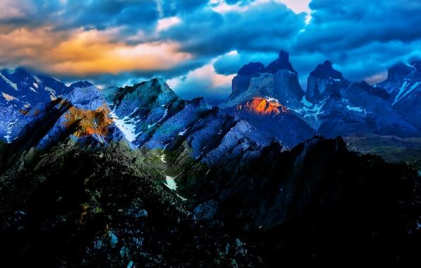Картинка небо, облака, свет, пейзаж, закат, горы, тучи, природа, Чили
