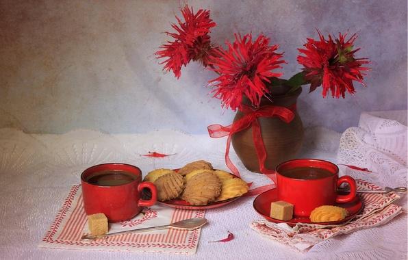 Картинка цветы, красный, стиль, чай, цвет, текстура, печенье, чашки, сахар, натюрморт