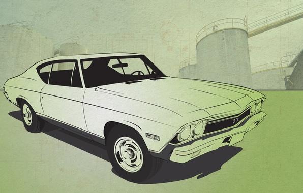Фото обои авто, вектор, Chevrolet Chevelle SS
