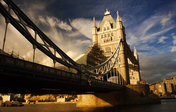 Картинка небо, облака, мост, река, фото, Англия, England, TowerBridge
