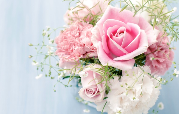 Картинка цветы, розы, букет, розовые, белые, гвоздики