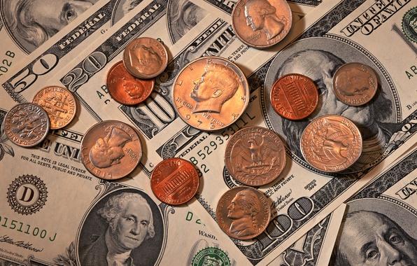 Картинка Eagle, Benjamin Franklin, Washington, money, dollars, coins