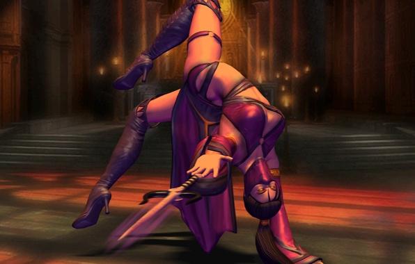 Картинка девушка, гибкость, игра, свечи, арт, ножи, Mortal Kombat, Skarlet