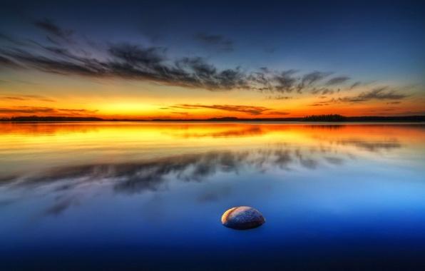 Картинка море, небо, облака, закат, камень