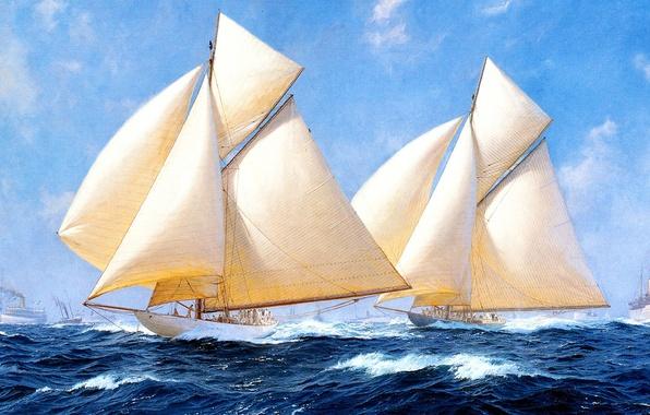 Картинка волны, небо, облака, корабль, парусник, картина, яхты, бурное море, J. Steven Dews