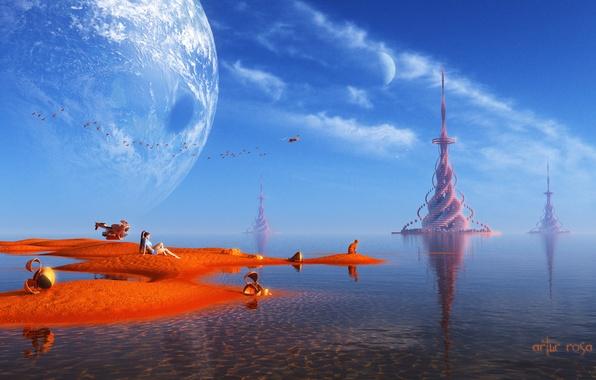 Картинка песок, вода, девушка, пейзаж, птицы, транспорт, планета, существа, башни, фантастический мир, рендер
