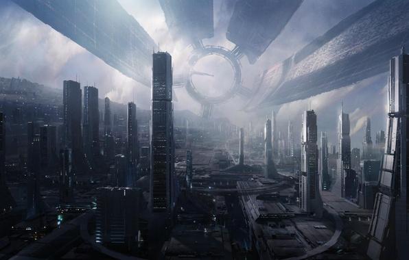 Картинка космос, станция, Mass Effect 2, Цитадель