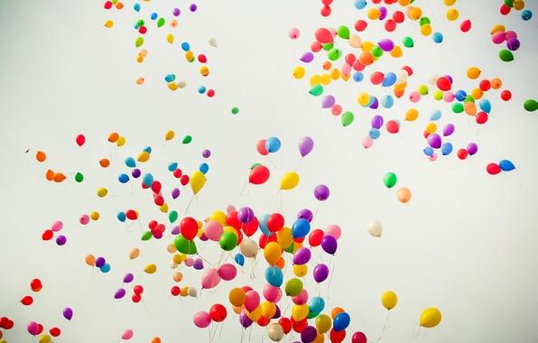 Картинка полет, радость, цвет, радуга, воздушные шарики