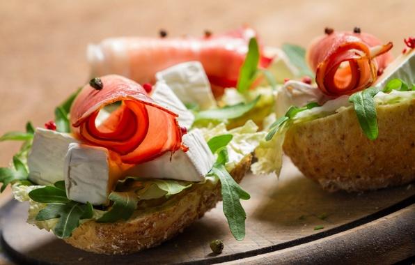 Картинка сыр, хлеб, бутерброд, закуска, ветчина