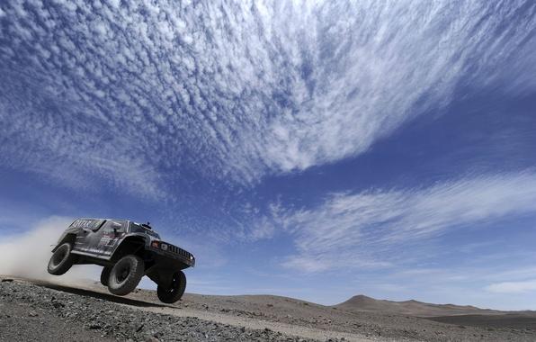 Картинка Небо, Облака, Черный, Спорт, Гонка, День, Rally, Dakar, Передок, Hammer