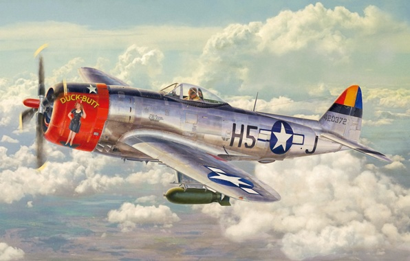 Картинка aircraft, war, art, airplane, painting, aviation, ww2, american fighter, P 47 Thunderbolt