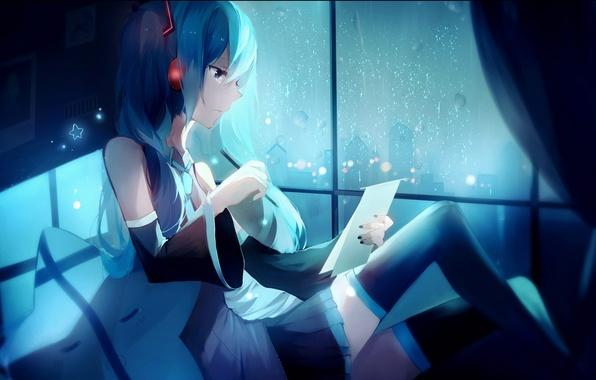 Картинка девушка, ночь, город, дождь, дома, аниме, наушники, арт, карандаш, vocaloid, hatsune miku, lococo