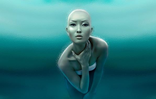 Картинка взгляд, девушка, лёд, азиатка, штрихкод