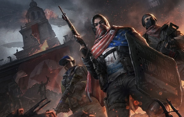 Картинка огонь, башня, автомат, солдаты, щит, повстанцы, Homefront: The Revolution