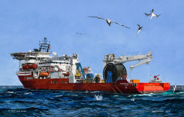 Картинка море, небо, птицы, Судно, используемое водолазами, Marshall Islands, Harkand Da Vinci