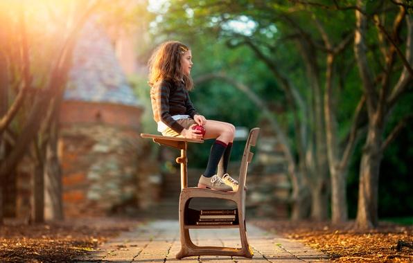 Картинка книги, яблоко, девочка, школьница, Daydreaming, child photography, School Day