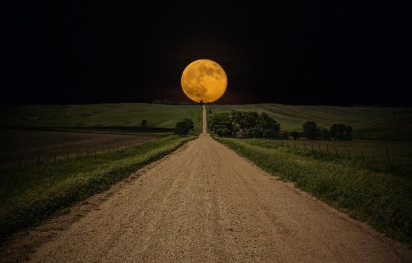 Картинка Небо, Поле, Дорога, Ночь, Луна, Путь, Moon, Sky, Night, Road, Field