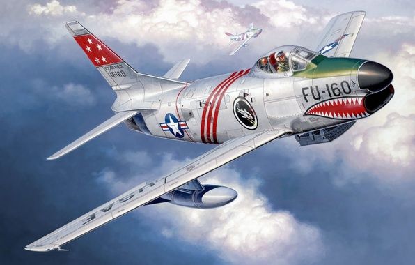 Картинка war, art, airplane, painting, aviation, jet, ww2, North American F-86D Sabre