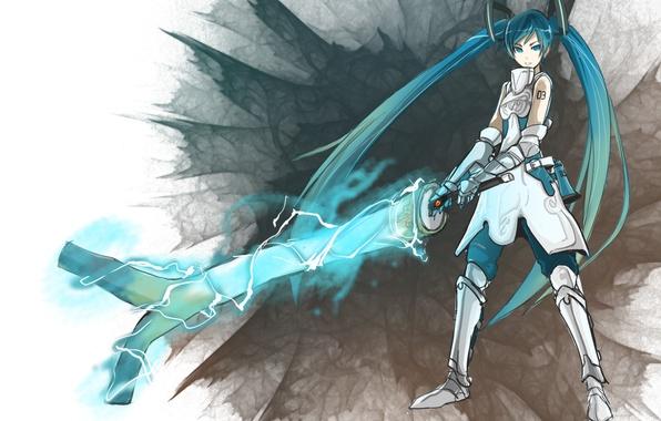 Картинка меч, доспехи, лук, sword, vocaloid, вокалоид, мику хатсуне, Miku hatsune