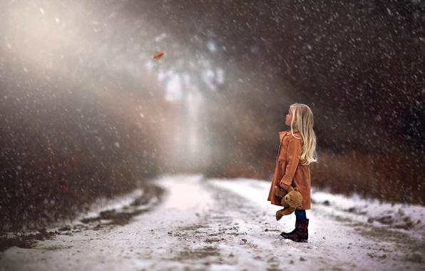 Картинка зима, дорога, осень, лес, деревья, Природа, девочка