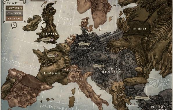 Картинка карта, Европа, карикатура, keithwormwood, Keith Thompson, 1914, год