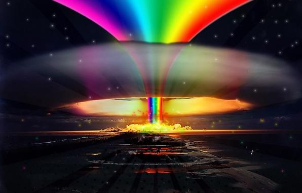 Картинка взрыв, радуга, Nuclear, rainbow, explosion