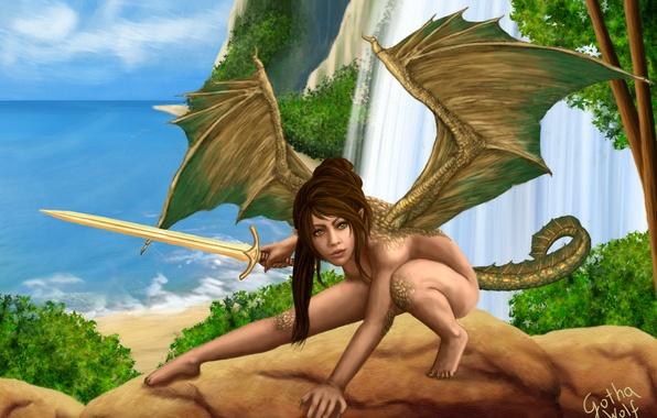 Картинка море, девушка, скалы, водопад, крылья, меч, фэнтези, арт, хвост, Barbara Kisło