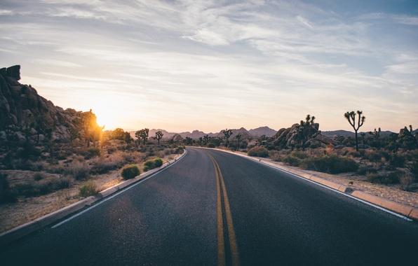 Картинка дорога, небо, облака, трасса